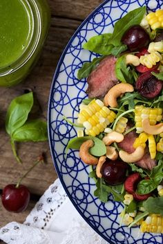 Grilled Steak Salad with Sweet Cherries and Ginger Basil Dressing - a perfect summer salad, it's fresh, healthy, hearty enough for men and super delish!