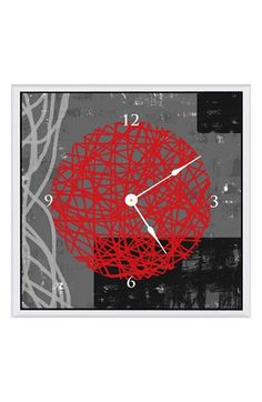 Green Leaf Art 'Red Composition I' Clock available at #Nordstrom fun for the wall