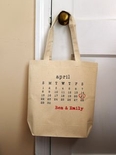 Wedding Tote Bag, personalized tote, bridal tote, wedding date, typewriter. $16.00, via Etsy.