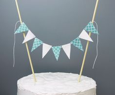 Quatrefoil Blue and White Cake Banner Teal and by SoSimpleSoSweet