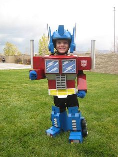 Homemade Optimus Prime costume for kids.