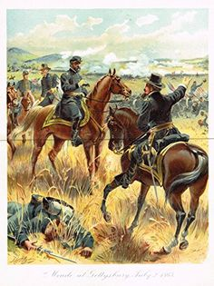 Ogden's History -Civil War - MEADE AT GETTYSBURG, 1863 - Chromolithograph - 1899