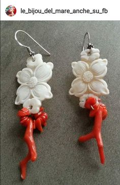 @le_bijou_del_mare_anche_su_fb Carved flowers and red coral earrings Coral Earrings, Red Coral, Carving, Pendants, Christmas Ornaments, Holiday Decor, Flowers, Jewelry, Jewlery
