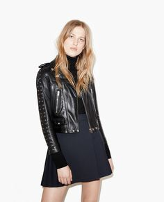 Leather jacket with laced-up cuffs - Leather - The Kooples