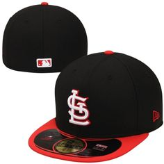 New Era St. Louis Cardinals Diamond Era Pop 59FIFTY Performance Fitted Hat - Black/Red