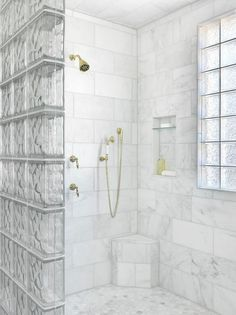 Glass Block Shower Partition Must haves: Rain shower head, hand-held with at least a five foot cord, bench, window, glass blocks. Bathroom Window Glass, Window In Shower, Bathroom Windows, Bathroom Closet, Shower Door, Hallway Closet, Bathroom Wainscotting, Budget Bathroom, Master Bathroom