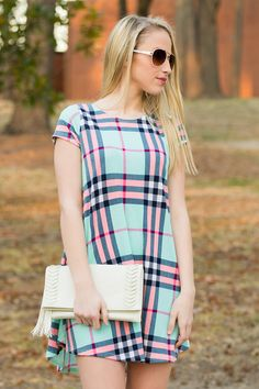 Candy Coated Plaid Cap Sleeve Tunic