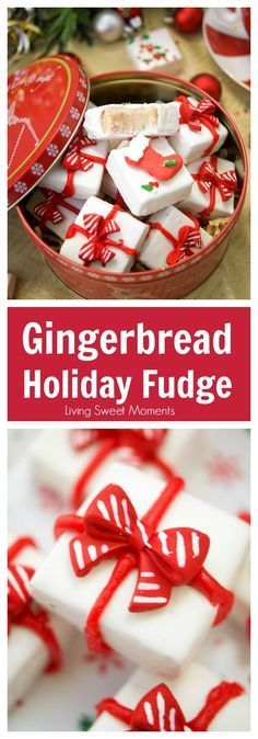 This delicious Gingerbread Holiday Fudge is perfect for Christmas parties and to give as DIY Gifts. Serve it in a present shape or decorate with sprinkles. via @Livingsmoments