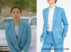 """Shin Se Kyung's light blue jacket - Sandro Jacket With Button Fastening. Shin Se Kyung 신세경 as Yoon So Ah 소아 in """"Bride of the Water God 2017"""" Episode 1."""