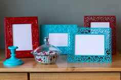 Turquoise PICTURE FRAME 5 x 7 Opening Metal by JaydotCreative