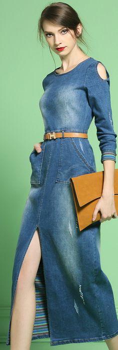 Blue Denim Slit Maxi Dress