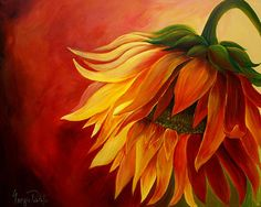 acrylic painting of sunflowers | Sunflower Painting by Georgia Pistolis - Sunflower Fine Art Prints and ...