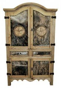 Cowhide Sierra Armoire W/Star | Rustic Furniture | Western Furniture