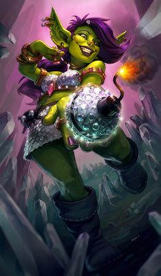 I Goblins. And doing Blizzard fanart! This is my goblin creation, the Bling Bomb. Warcraft Characters, Dnd Characters, Fantasy Characters, Female Characters, World Of Warcraft 3, Warcraft Art, Warcraft Legion, Fantasy Character Design, Character Inspiration