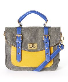 Gray felt with blue and yellow colorblocking bag