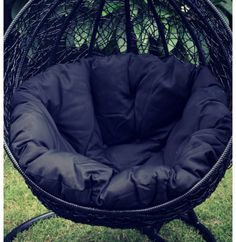 black eclipse hanging egg chair stand - Garden Furniture Pod