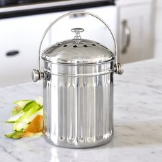 Brushed Stainless Steel Compost Pail U0026 Indoor Kitchen Scrap Collection Bin  | Pinterest | Compost Pail, Brushed Stainless Steel And Composting