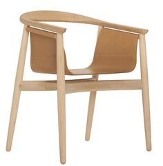 Pelle armchair Natural beech structure / Natural leather seat | Armchair Zeitraum