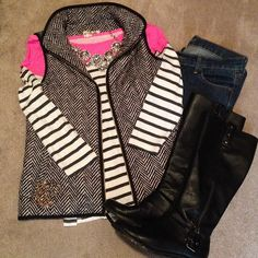 herringbone vest and stripes