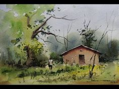 Easy watercolour landscape painting by sikander singh chandigarh india Watercolor Paintings Of Animals, Watercolor Landscape Paintings, Landscape Drawings, Cool Landscapes, Oil Painting Abstract, Landscape Art, Water Colour Landscape, Scenery Paintings, Watercolor Artists