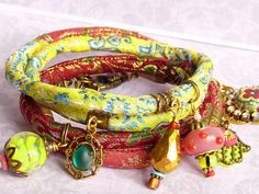 Lime brocade wrap bracelet