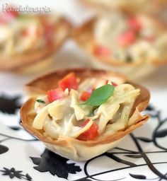 PANELATERAPIA - Blog de Culinária, Gastronomia e Receitas: Cestinhas de Frango com Requeijão