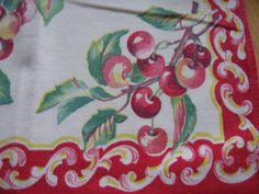 vintage table cloth - I have one just like this in pink that was my mom's! Vintage Kitchen, Retro Vintage, Vintage Items, Vintage Tablecloths, Linen Tablecloth, Vintage Sheets, Vintage Linen, Cherries Jubilee, Linens And Lace