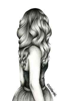 black and white sketch drawing of a girl with long wavy hair