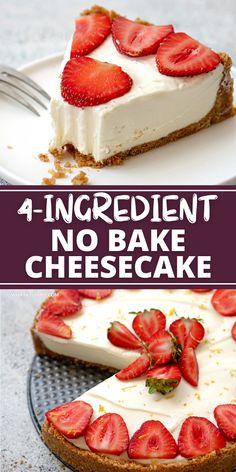 No Bake Cheescake Recipe, Quick And Easy Cheesecake Recipe, Best No Bake Cheesecake, Easy No Bake Desserts, Cheesecake Desserts, Easy Cake Recipes, Baking Recipes, Delicious Desserts, Graham Cracker Cheesecake Recipe
