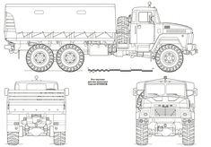 KrAZ-260 Blueprint - Download free blueprint for 3D modeling