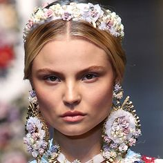 Dolce & Gabbana sent out models who looked straight out of a Jean-Honoré Fragonard painting: all pastels, embellishments and pretty softness.