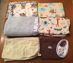 Baby Blanket Bundle for Boys, Fuzzy/Warm, Changing Table Cover, Bib, 7 item lot #PotteryBarnKids