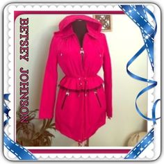 """BETSEY JOHNSON PEPLUM PINK JACKET-BNWT SMALL-  NWT Betsey Johnson Size: USA SM & Med (measurements for small so just add on for medium)  Color: Pink Tourmaline Retail: $200.00 + tax!  New with tags IN RETAIL!  Basic Jacket w/multi purposes!  Closure: Zipper Vents: Non-Vented, Material: 100% Polyester Total Length: 31"""" , Sleeve Length: 25"""" Peplum style! Sooo pretty! 5⭐️ FB in love notes. Read them. :)  Removable Liner & Hood Included ( yes, you can take the plush lining out for lighter wear…"""