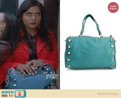 Mindy's blue spiked bag on The Mindy Project.  Outfit Details: http://wornontv.net/30374/ #TheMindyProject