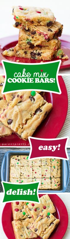 "Cake Mix Cookie Bars "" Ingredients: 1 Box yellow cake mix (I used Betty Crocker) 1 Small box instant vanilla pudding ¼ Cup water ¾ Cup vegetable oil 2 Eggs 1 Cup chocolate chips. I used ½ cup holiday mini M&M's and ½ cup milk chocolate. Köstliche Desserts, Holiday Desserts, Holiday Baking, Christmas Baking, Holiday Recipes, Delicious Desserts, Dessert Recipes, Christmas Cookies, Thanksgiving Desserts"