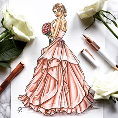Looking for a unique paper gift idea for your first anniversary? How about a custom bridal sketch? Come check out the customs section in my Etsy store. Dress Design Drawing, Dress Design Sketches, Dress Drawing, Fashion Design Drawings, Fashion Sketches, Fashion Drawing Dresses, Fashion Illustration Dresses, Fashion Poses, Watercolor Illustration