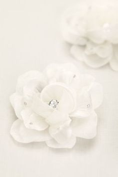Flirty and fun, these organza flowers take it to the next level.  Organza flowers on a salon clip embellished with crystal center and scattered rhinestone on petals.  Sold as set of two.  Imported.