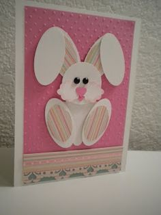 handmade Easter card ... adorable punch art bunny on a pink background ... Stampin' Up!