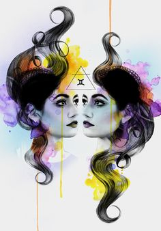 Kerry Beall is an artist working in mixed media, namely charcoal, ink and oil. Creating beautiful surreal and fantasy artworks of portraits and animals. Gemini Art, Pisces, Zodiac Art, 12 Zodiac, Zodiac Signs, Major Arcana Cards, Fantasy Artwork, Artist At Work, Female Art