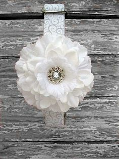 White Wedding Dog Collar with White Flower by BigpawCollars, $42.00
