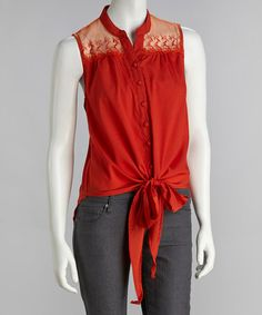 Look at this #zulilyfind! Orange Lace Front Tail Tank by Simply Irresistible #zulilyfinds