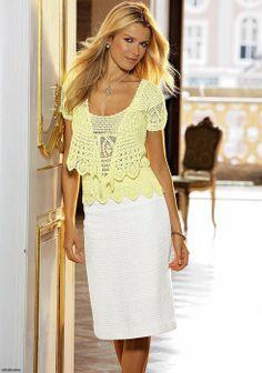 Ivelise Hand Made: Twin Set Cardigan Ja Blusinha Regatta Crochet Shirt, Crochet Cardigan, Crochet Lace, Free Crochet, Crochet Bodycon Dresses, Lace Top Dress, Vanessa Montoro, Shrug Cardigan, Cardigan Pattern