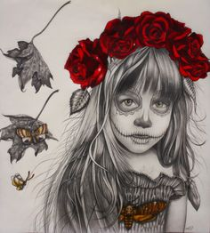 These surreal gothic illustrations are by Alessia Iannetti, all of which are portraits of female women and children. Every piece is mainly monochrome with small pops of color being insects or birds, they show lots of emotion being both innocent yet dark. Drawing Sketches, Art Drawings, Drawing Ideas, Sugar Skull Art, Sugar Skulls, Gcse Art, Creepy Dolls, Art For Art Sake, Italian Artist