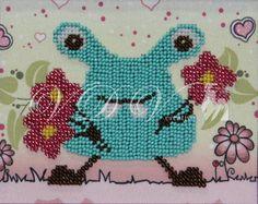 """Beading kit """"Little Monster"""" (VDV). #vdvkiev #embroiderykit #printonfabric #handmade #Preciosa #kitwithbeads #beads #beadingkit"""