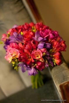 Bright Pink and Purple Organic Freesia Bridal Bouquet - Petite Fleur by The French Bouquet - Artworks Tulsa Photography Freesia Bridal Bouquet, Coral Color Schemes, Affordable Wedding Packages, Wedding Bouquets, Wedding Flowers, Future Mrs, Spring Bouquet, Wedding Show, Wedding Bands