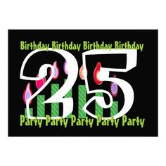 25th -  29th Green Black Birthday Party Custom Invitation