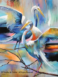 "Contemporary Tropical Bird Art  ""Twin Egrets"" hand signed by artist Tim Parker of #BirdArt on Etsy♥•♥•♥"