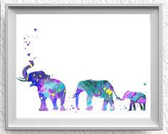 Elefante familia mamá papá y bebé 3 acuarela grabado acuarela | Etsy