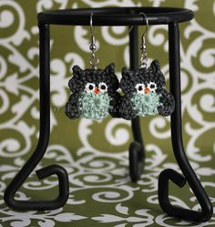 Handmade crochet owl earrings, Olga, in charcoal and sea foam green from Divinedebris.com for $9.50