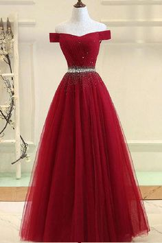 Burgundy tulle off shoulder long prom dress, burgundy evening dress, Customized . - Burgundy tulle off shoulder long prom dress, burgundy evening dress, Customized service and Rush order are available # Source by - Pretty Prom Dresses, Cute Prom Dresses, Grad Dresses, Ball Dresses, Beautiful Dresses, Long Dresses, Dresses For Balls, Wedding Dresses, Winter Dresses